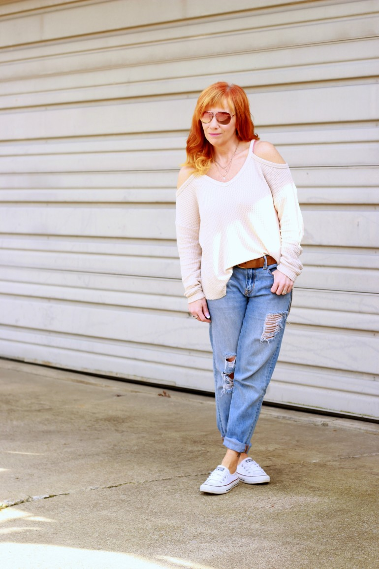 cold shoulder sweater, distressed boyfriend jeans, Converse
