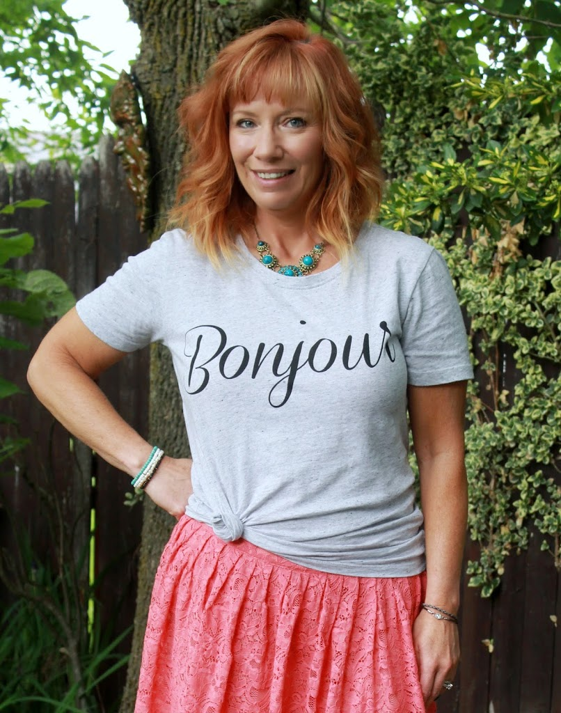 Hot Mess Epidemic: Bonjour Graphic Tee, Coral Lace Skirt And Leopard Slip On Sneakers