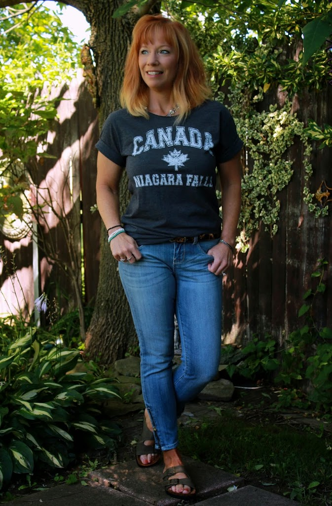 Of Tourist Tees And Blatant Stupidity Graphic Tee, Cropped Jeans And Birken-Nots