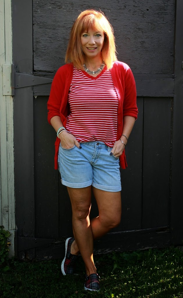 Temporary Summer: Red And White Striped Tee, Boyfriend ...
