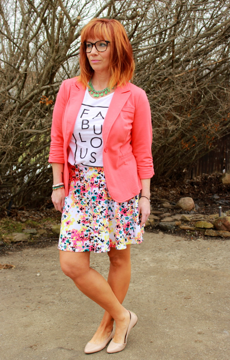 Floral Skater Skirt Graphic Tee Amp Coral Blazer It S That
