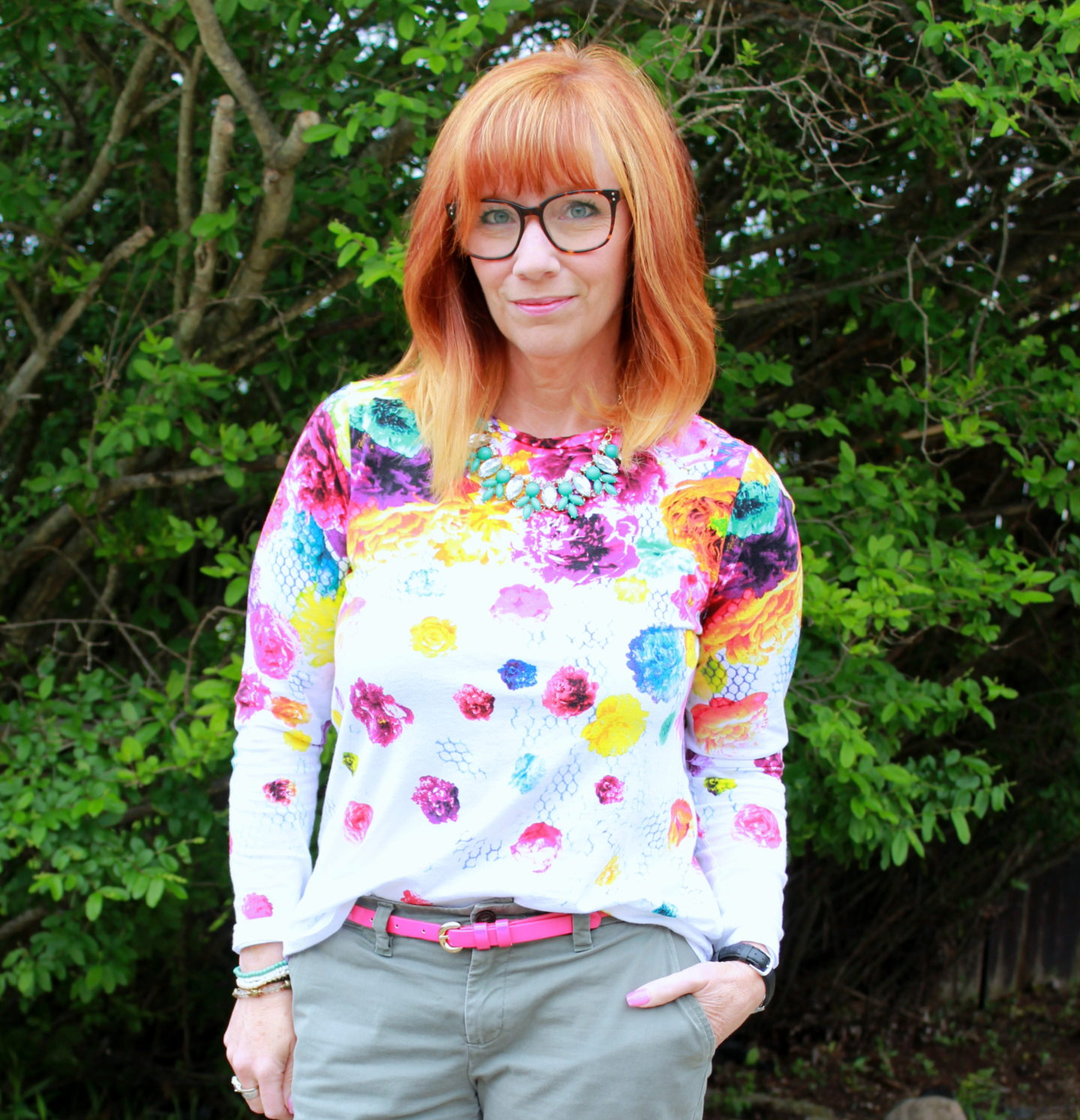 Floral Print Tee & Khakis: Nothing But A Number