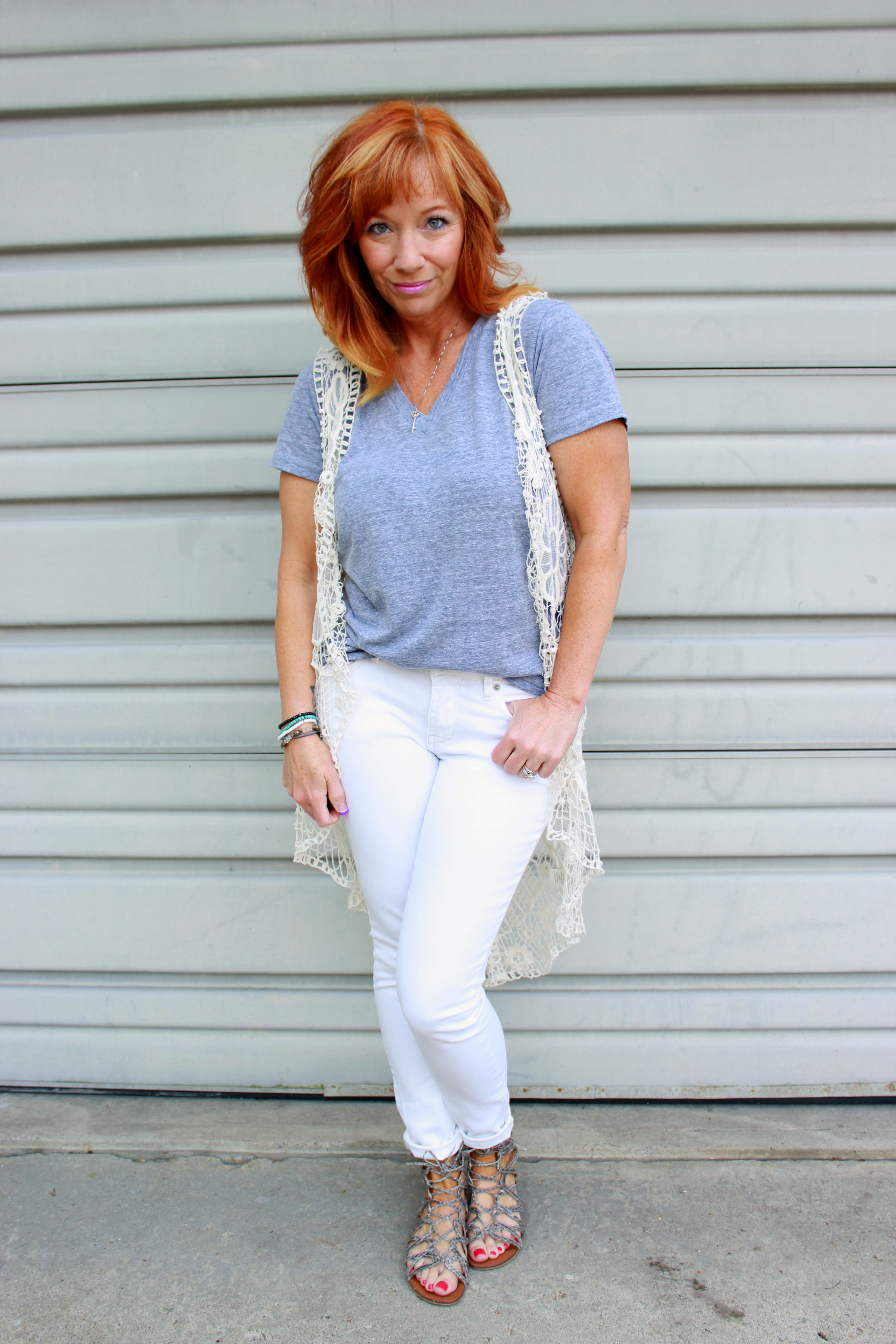 Long Crochet Vest White Jeans Adventures In Housecleaning