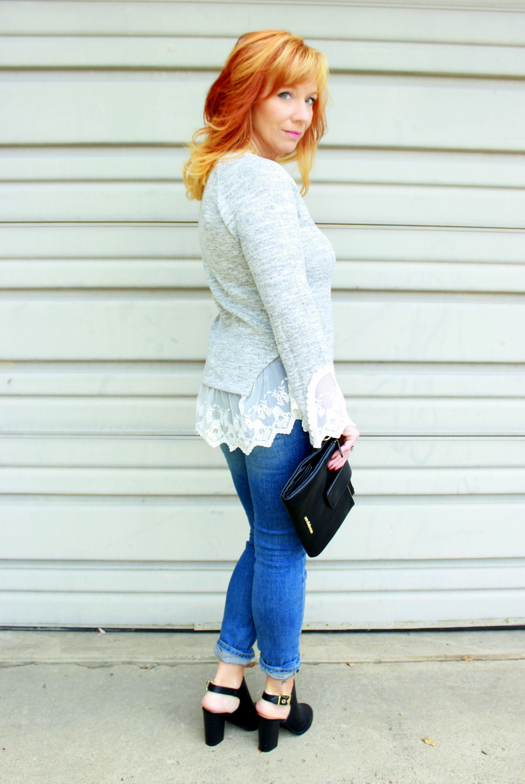 Lace Trimmed Sweater Amp Skinny Jeans A Nip In The Air