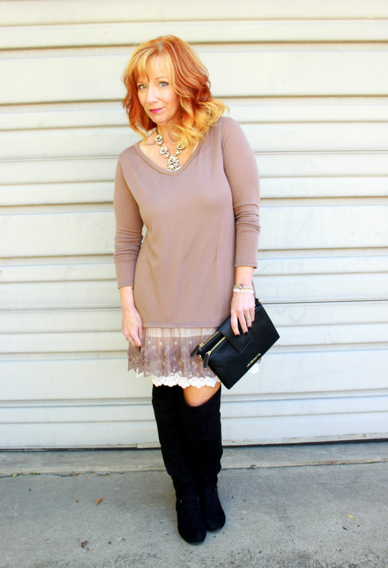 lace tunic, over the knee boots, clutch