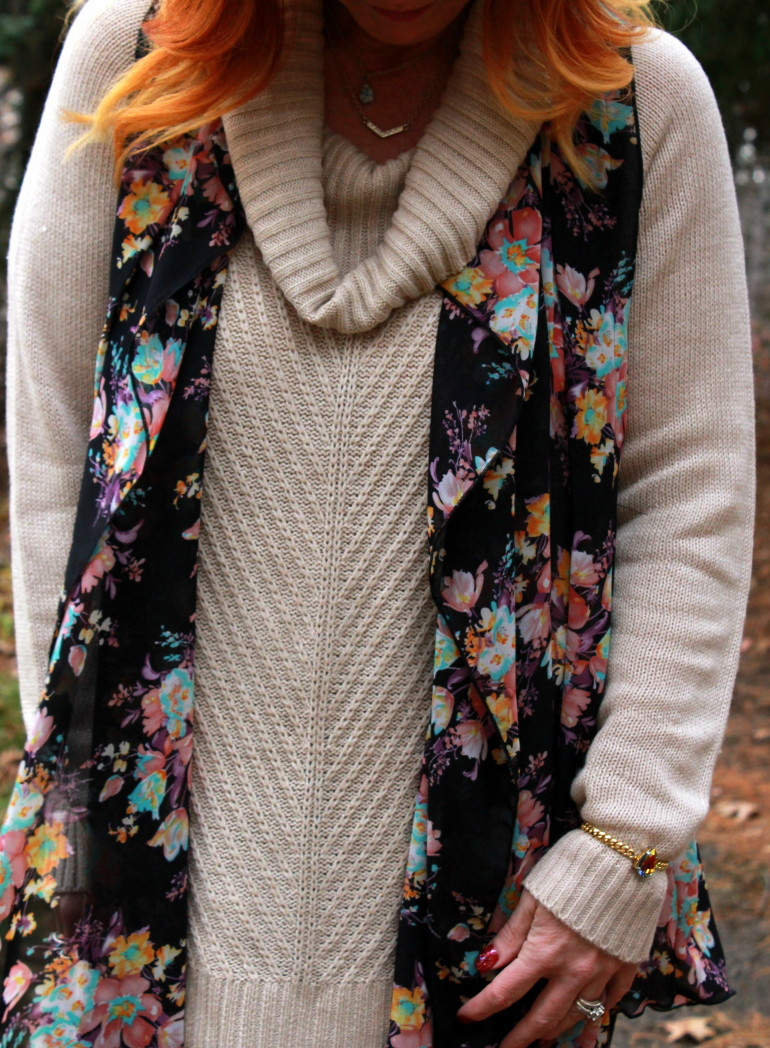 floral print cascading vest, tunic sweater, lace up boots