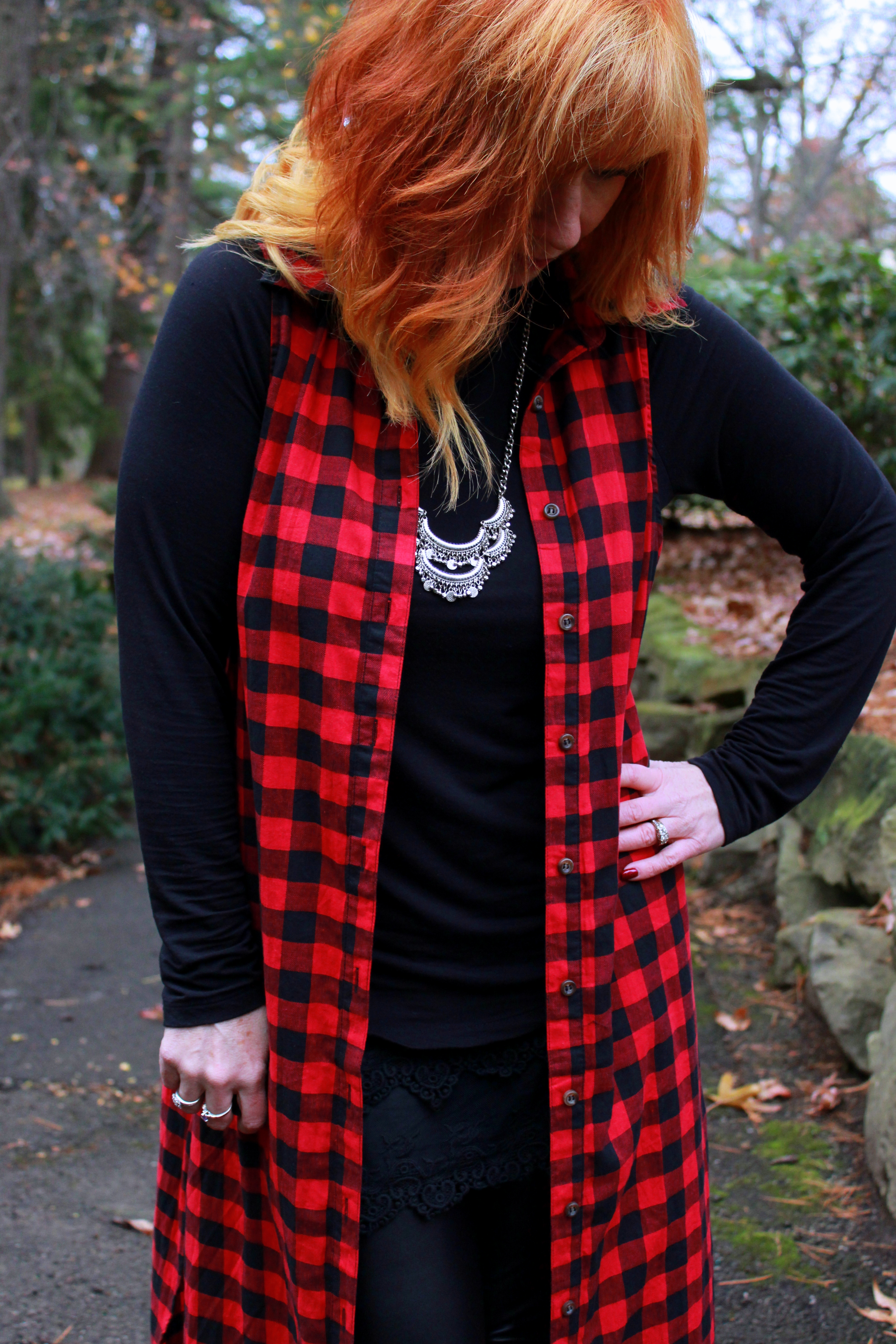 Plaid Duster Amp Faux Leather Leggings Weather Musings