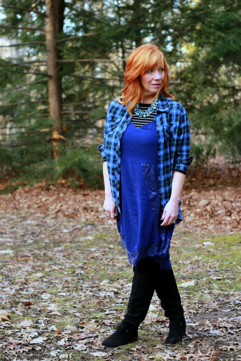 lace slip dress, flannel shirt, over the knee boots