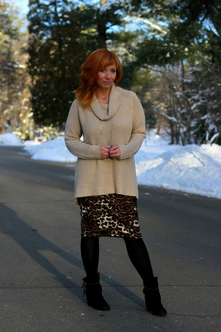 Leopard Pencil Skirt Amp Black Ankle Boots Tween Seasons