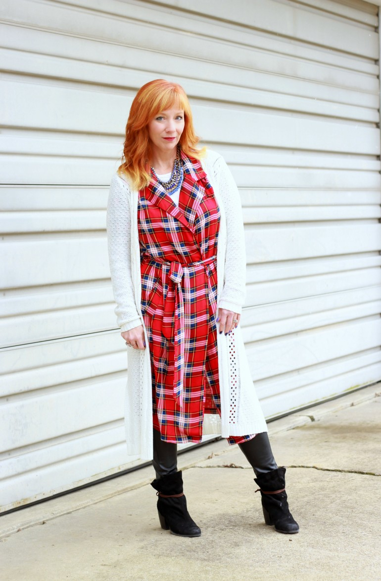 plaid duster, faux leather leggings, long cardigan