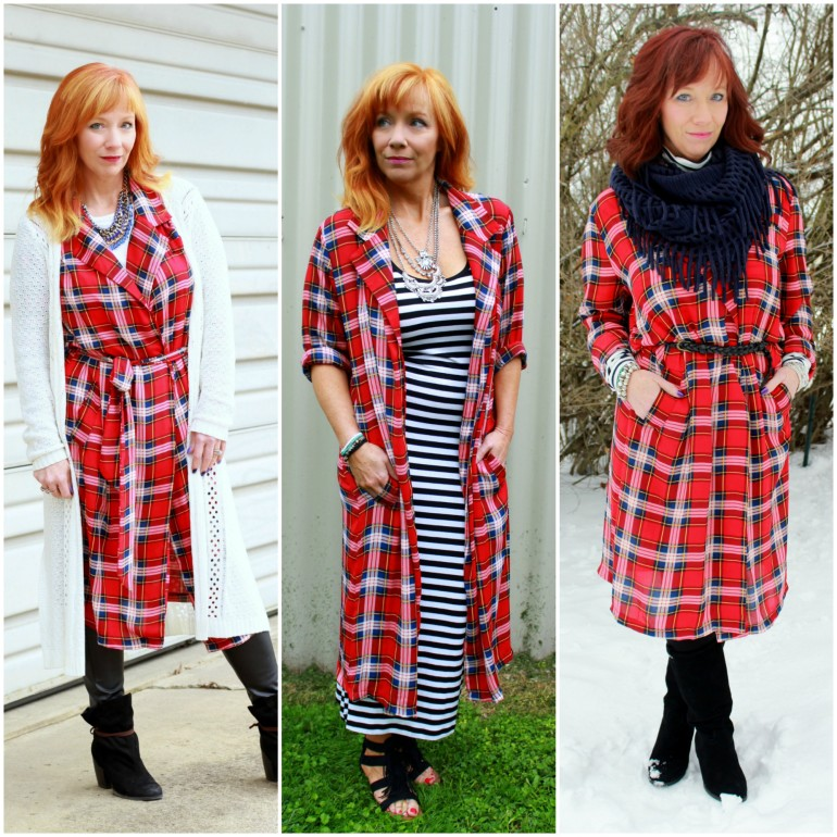Plaid duster collage