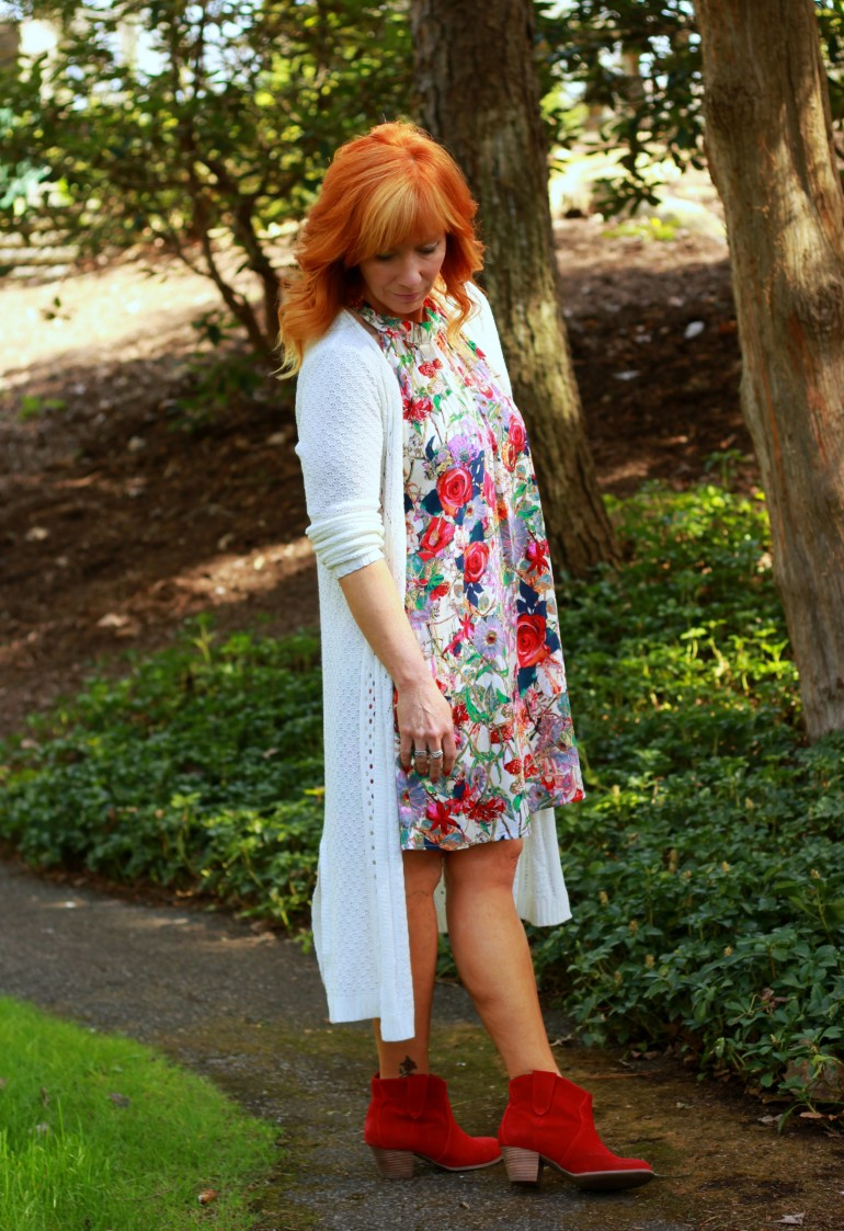 floral halter dress, red ankle boots, long cardigan