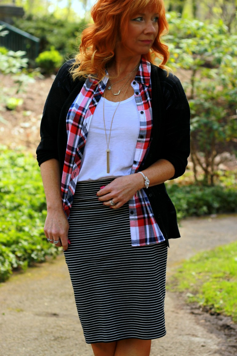 Plaid Sleeveless Shirt Amp Striped Skirt Work Appropriate