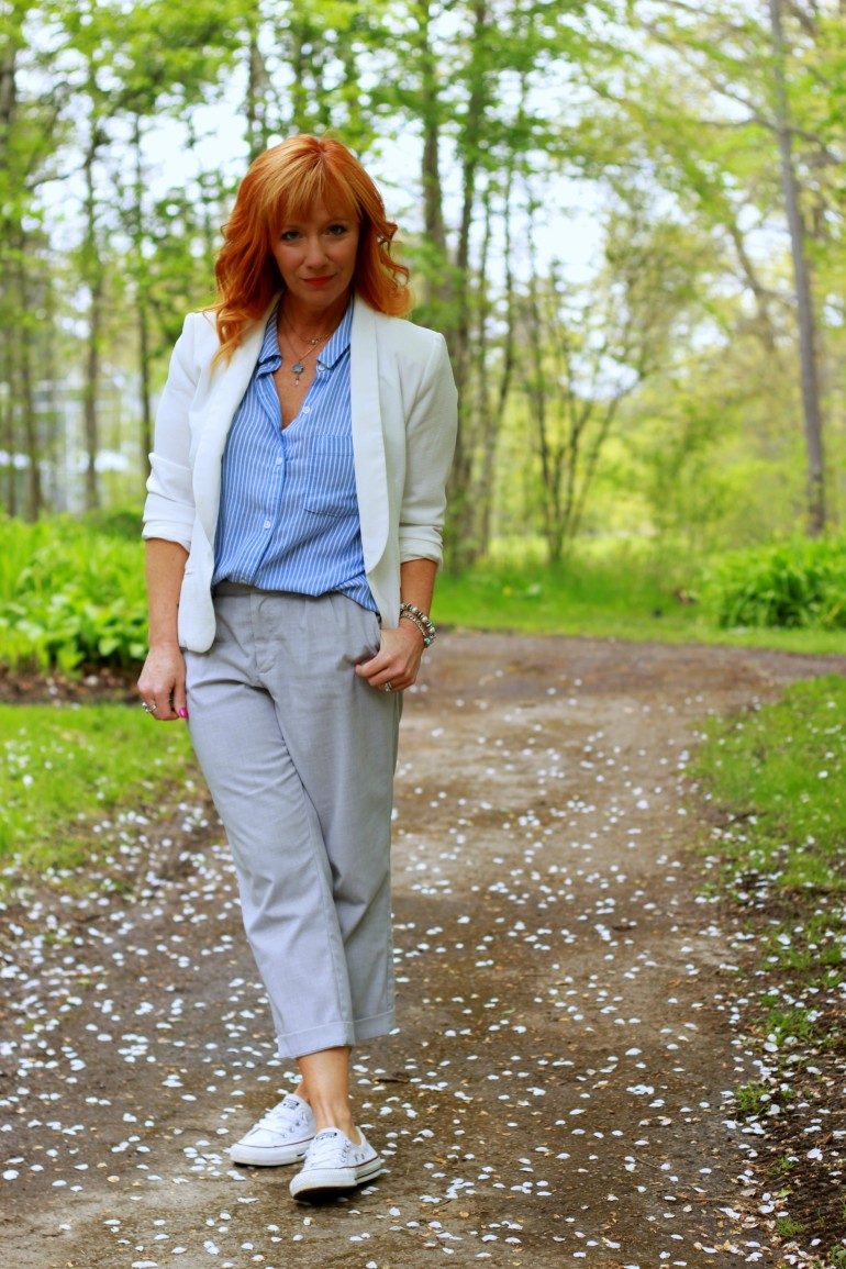 sleeveless striped button down, white blazer, gray pants, Converse