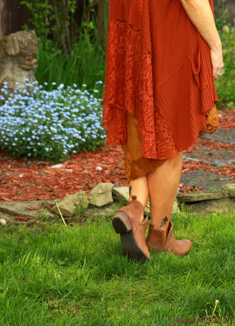 slip dress, lace vest, ankle boots
