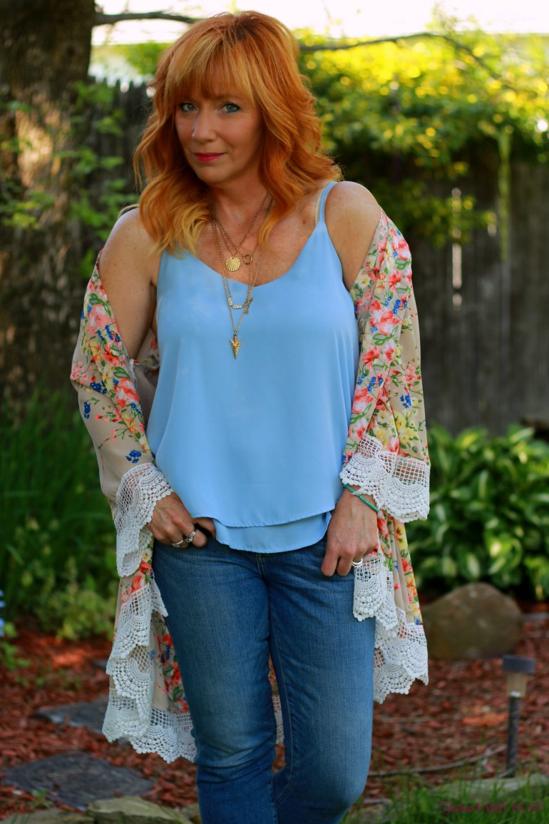 floral kimono, fringe sandals, cropped skinny jeans, cami