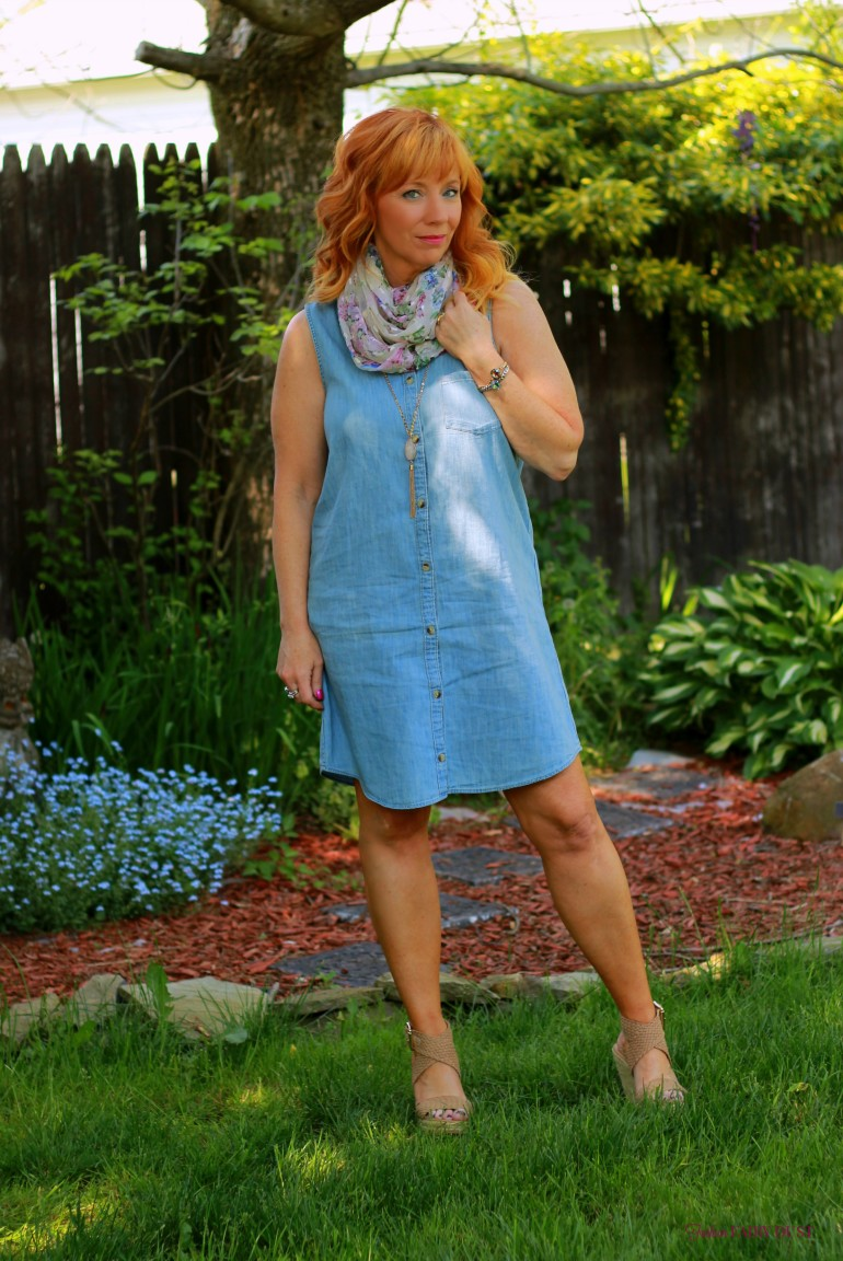 sleeveless chambray dress, floral print scarf, wedge sandals