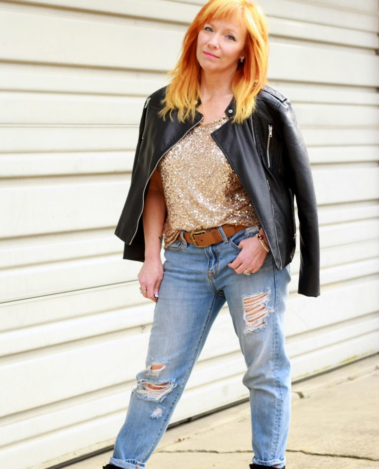 sequin top, moto jacket, distressed jeans