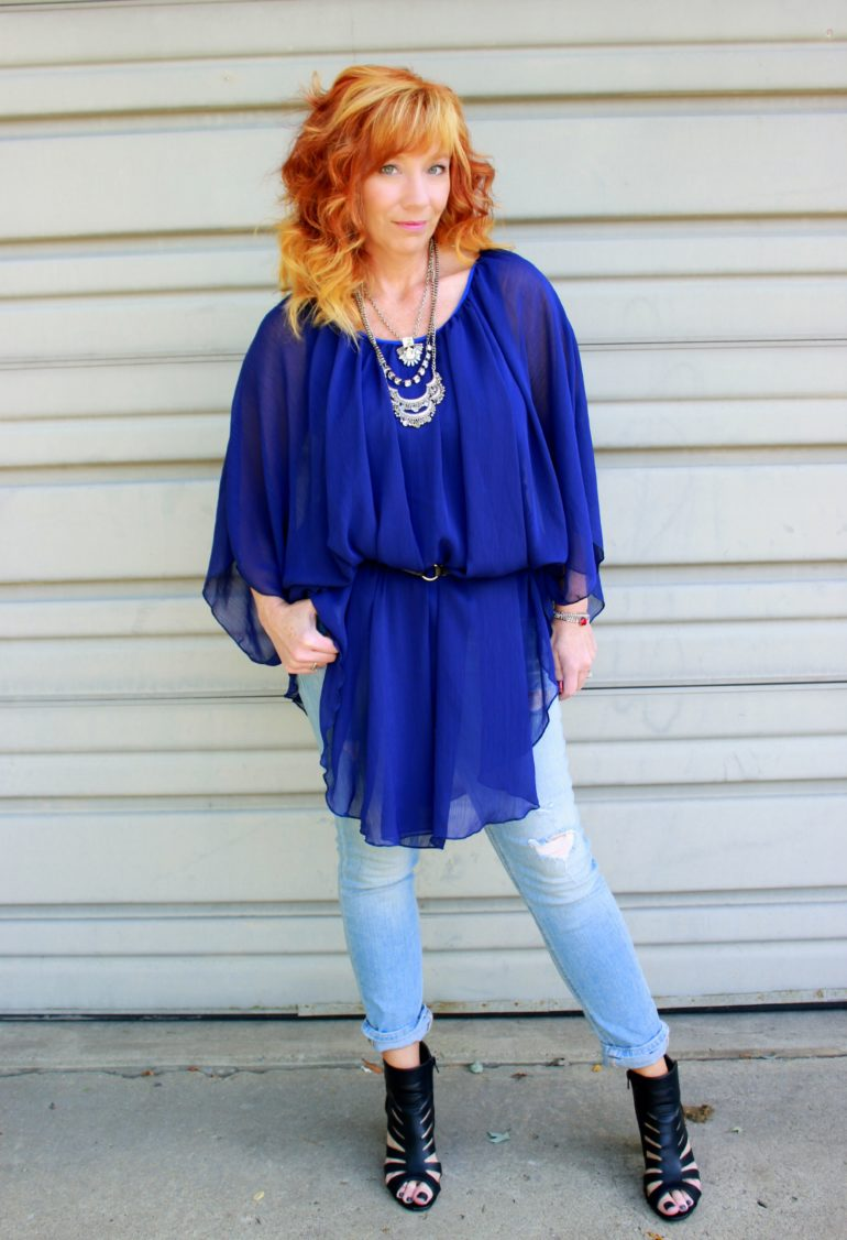 blue chiffon dress, distressed skinny jeans