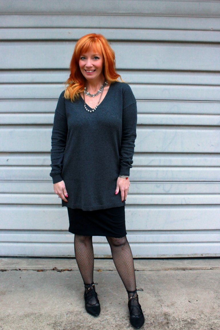 gray tunic sweater, fishnet tights, black pencil skirt