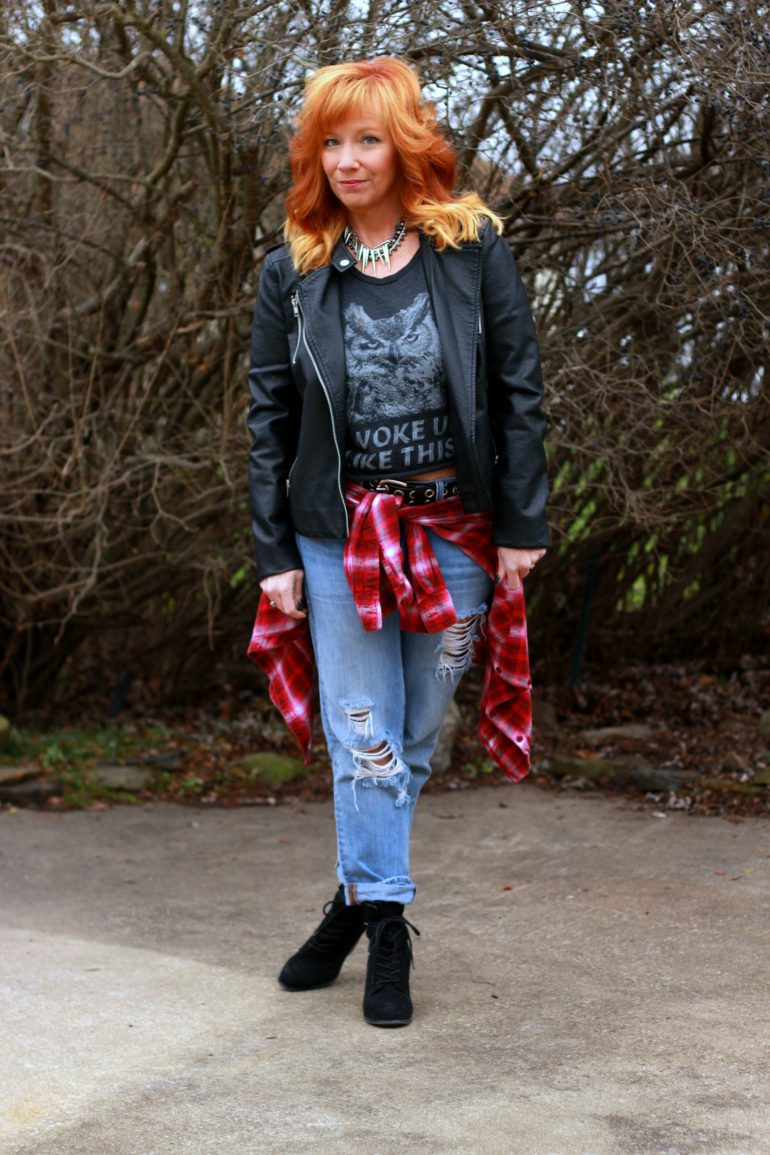 moto jacket, graphic tee, distressed jeans