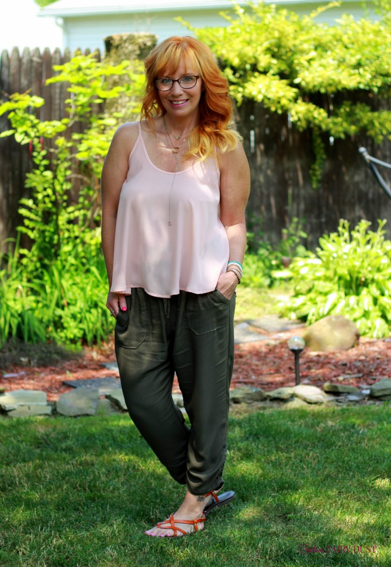 Olive crop pants, pink cami, brown sandals