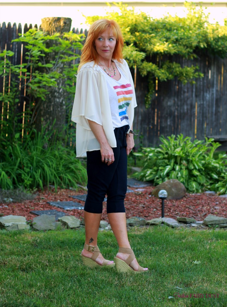 pride tank top, cropped joggers, wedge sandals, kimono