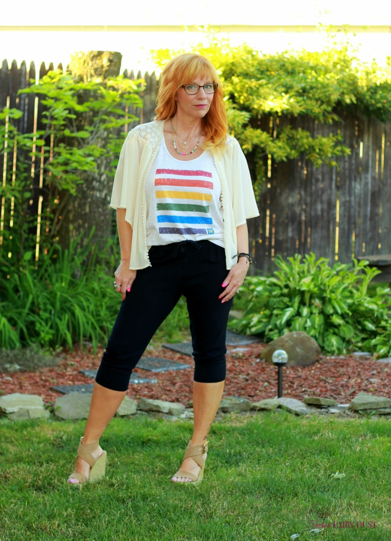 Pride Tank, cropped joggers, wedge sandals, kimono