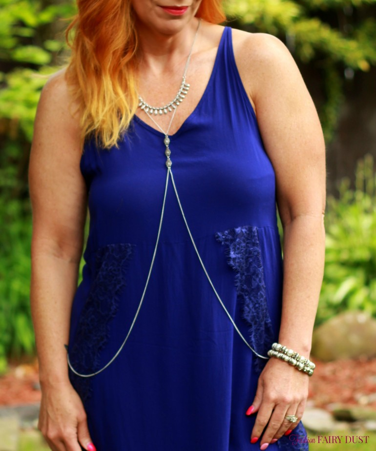 blue slip dress, body chain, black sandals