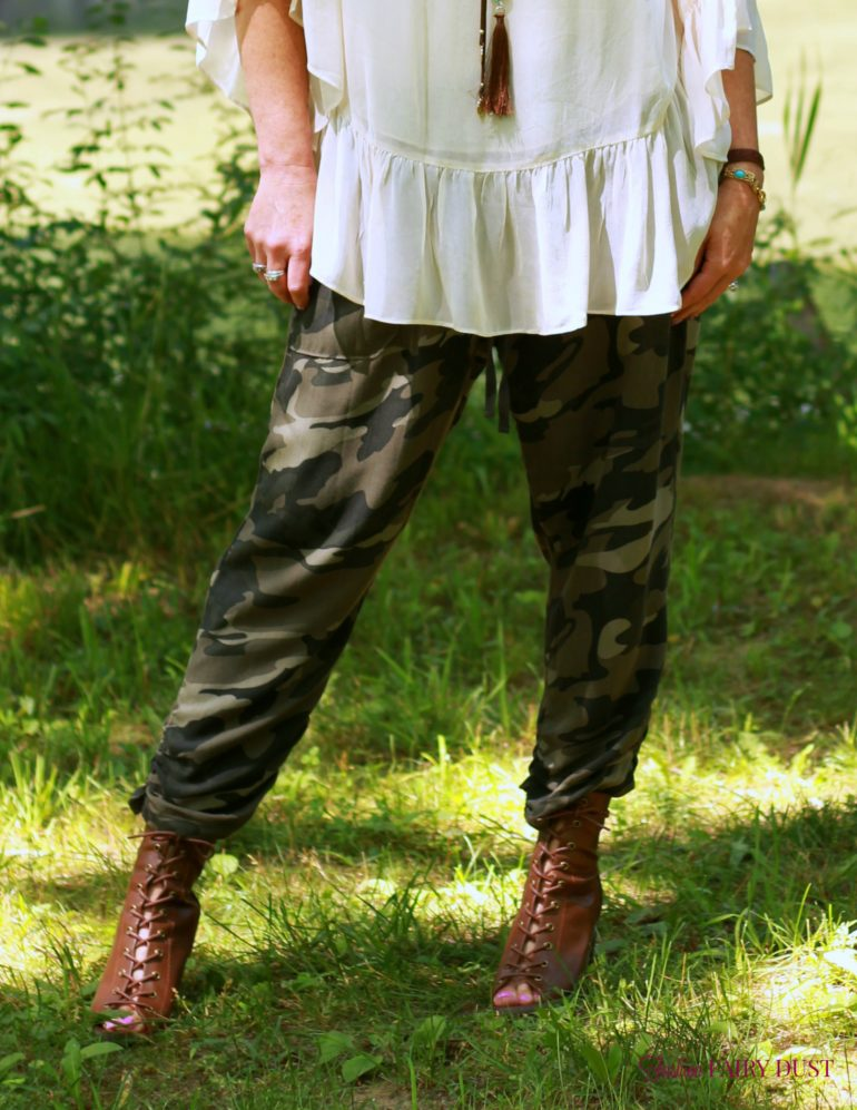 camo soft pants, sheer boho top, peep toe ankle boots