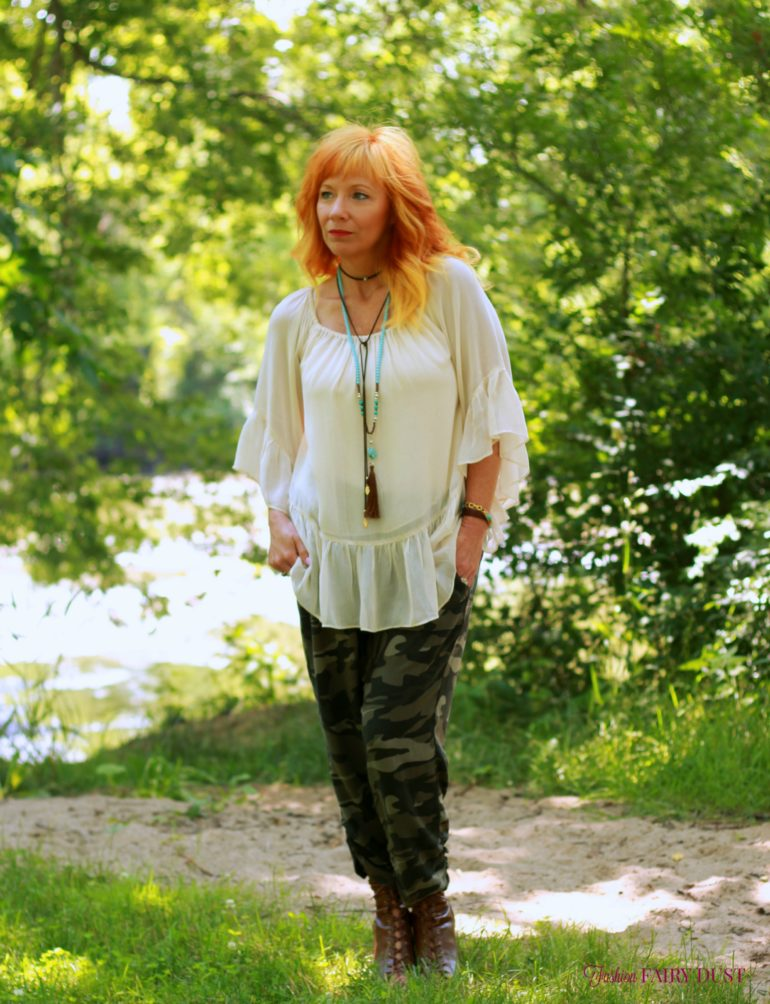camo soft pants, sheer boho top, peep toe booties