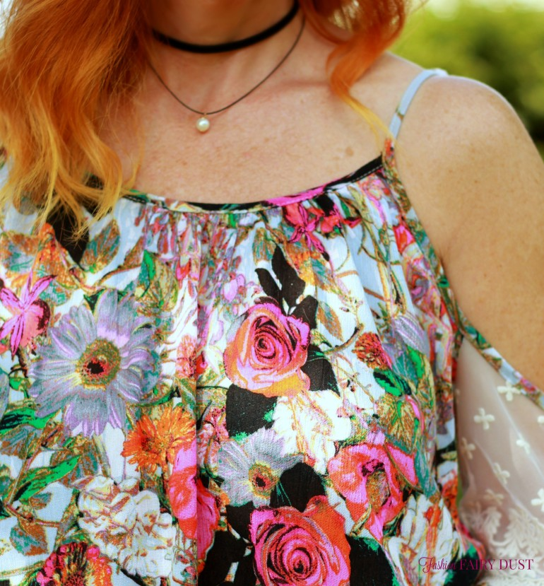floral off the shoulder top, denim boyfriend shorts, black sandals