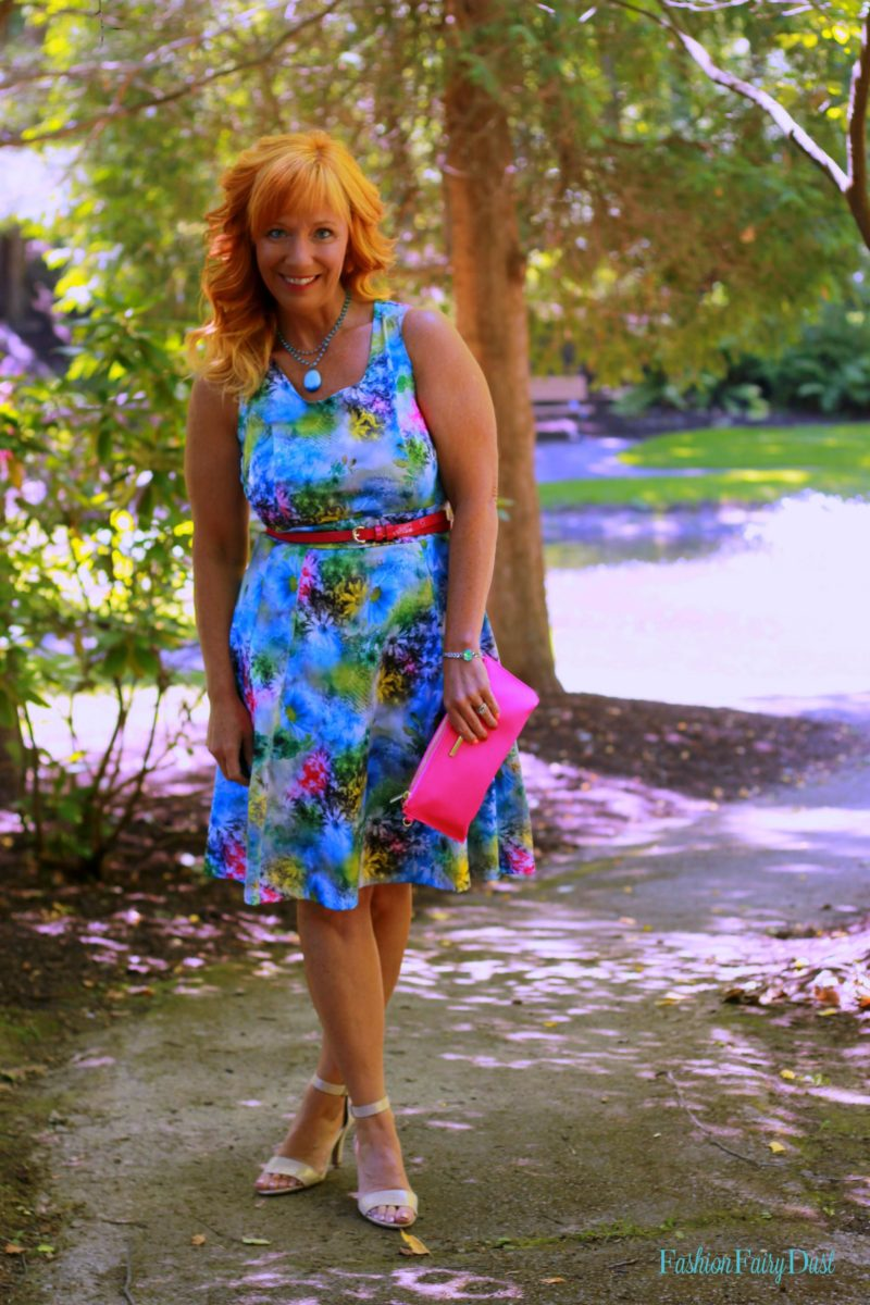 floral print dress, pink clutch, metallic sandals
