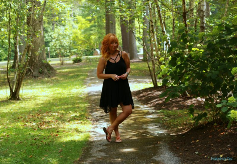 Black Lace Sundress & Brown Sandals: Emotional Steamroller