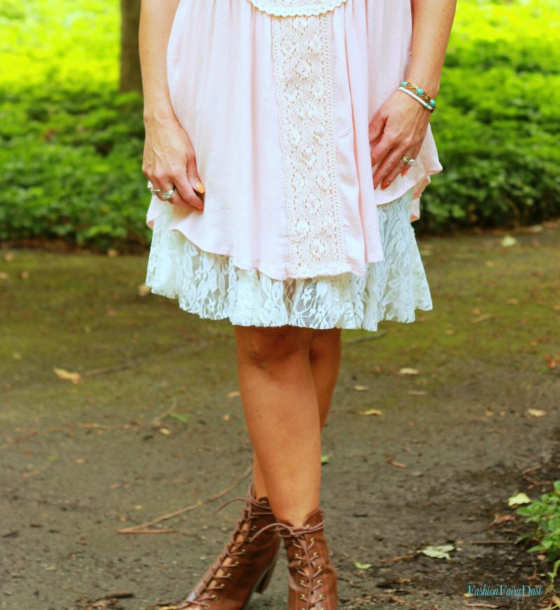 pink oft sundress, denim boyfriend shorts, peep toe ankle boots