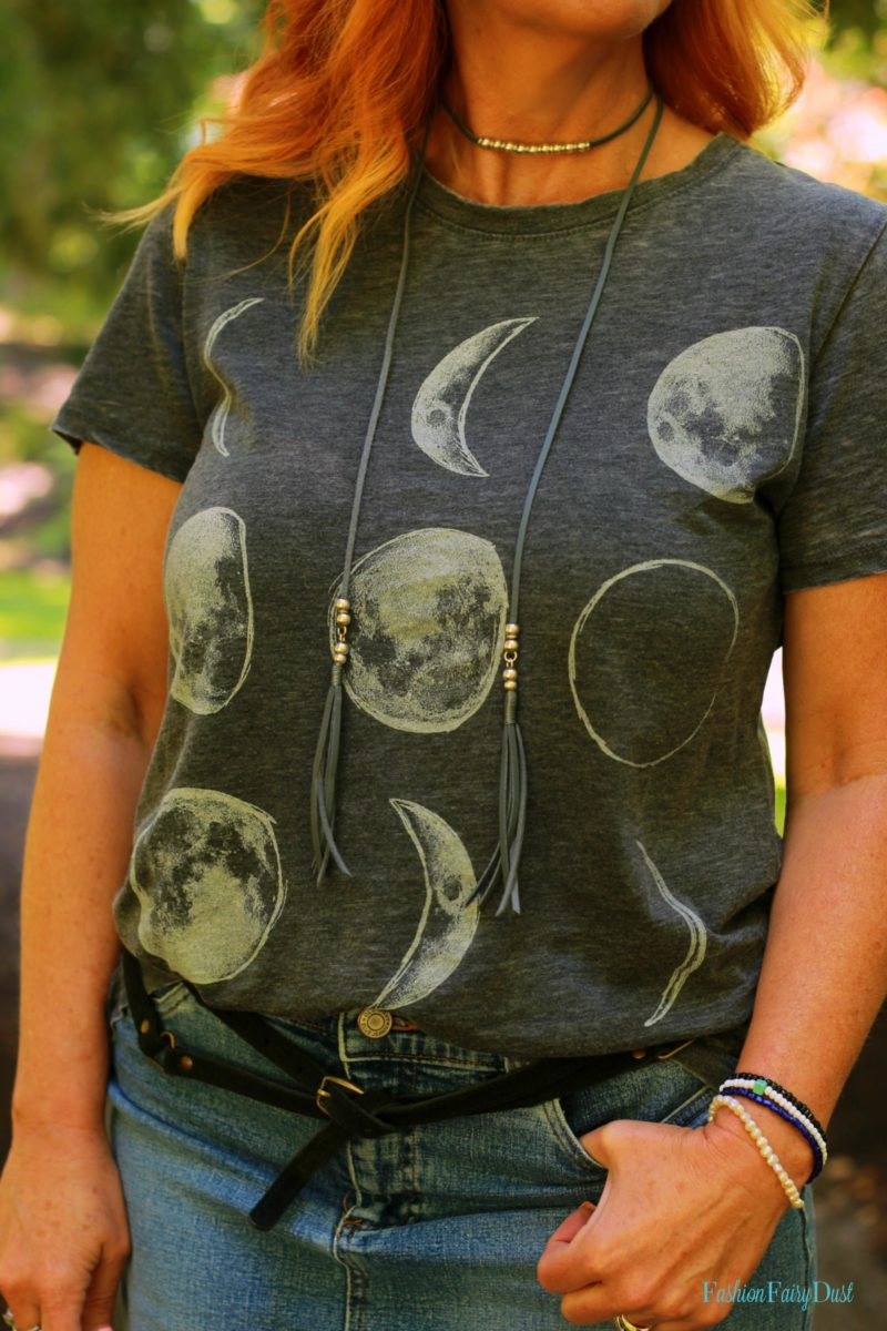 moon graphic tee, denim skirt, Converse, Firmoo glasses
