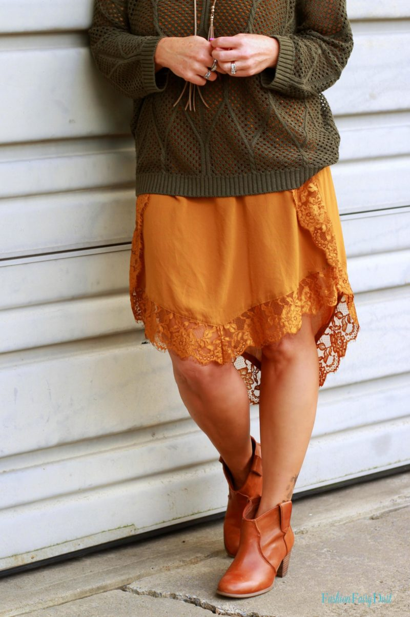 olive v-neck sweater, lace sundress, ankle boots
