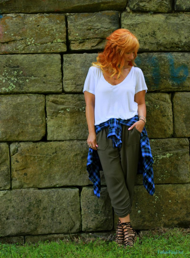 white tee, cropped slouchy pants, leopard wedges