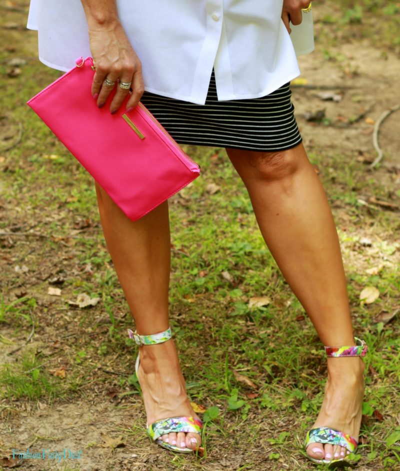 white tunic, striped pencil skirt, floral sandals