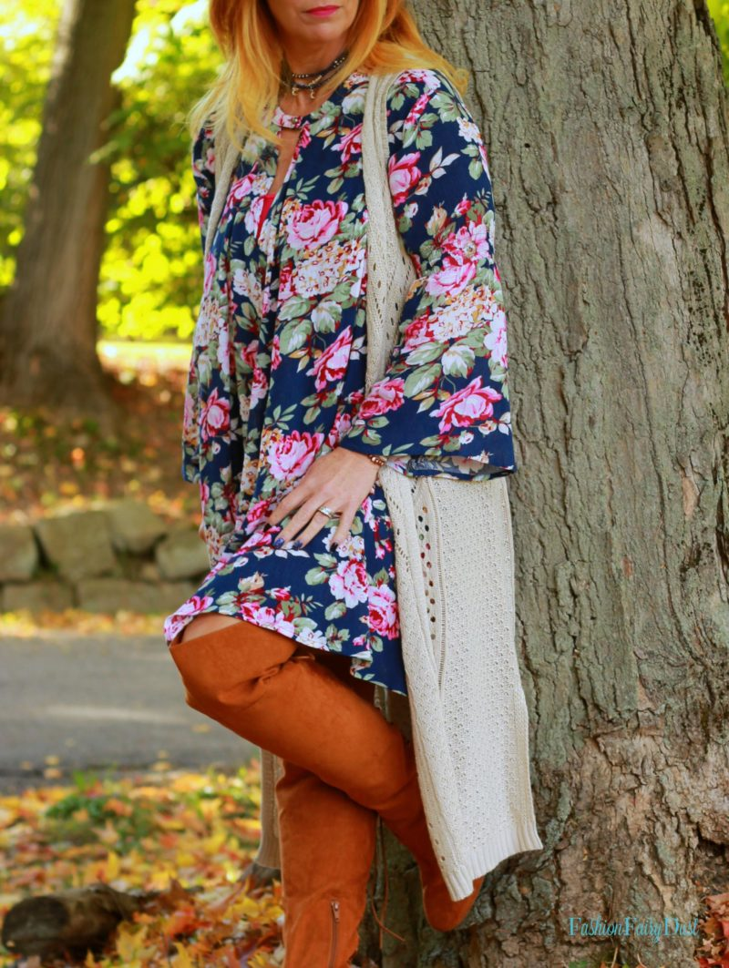 Blue floral print boho dress and over the knee boots. Fall boho outfit.
