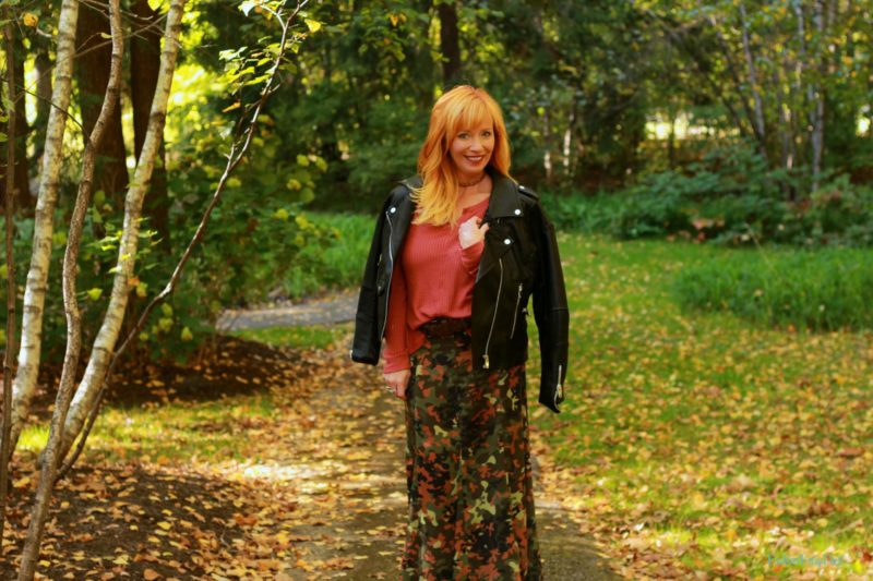 Camo maxi skirt, faux leather moto jacket and waffle knit top. Winter coat wishlist.