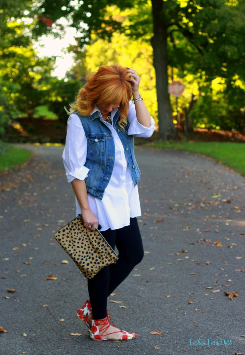 White tunic, floral lace up flats and leggings. Building an outfit around a single piece.