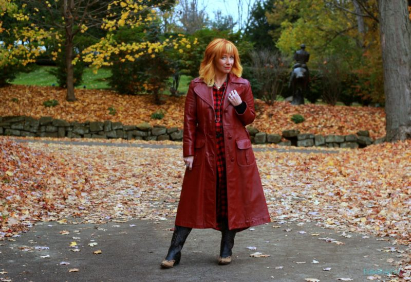 Vintage red leather coat, buffalo plaid duster, cowboy boots. Fall outfit ideas.