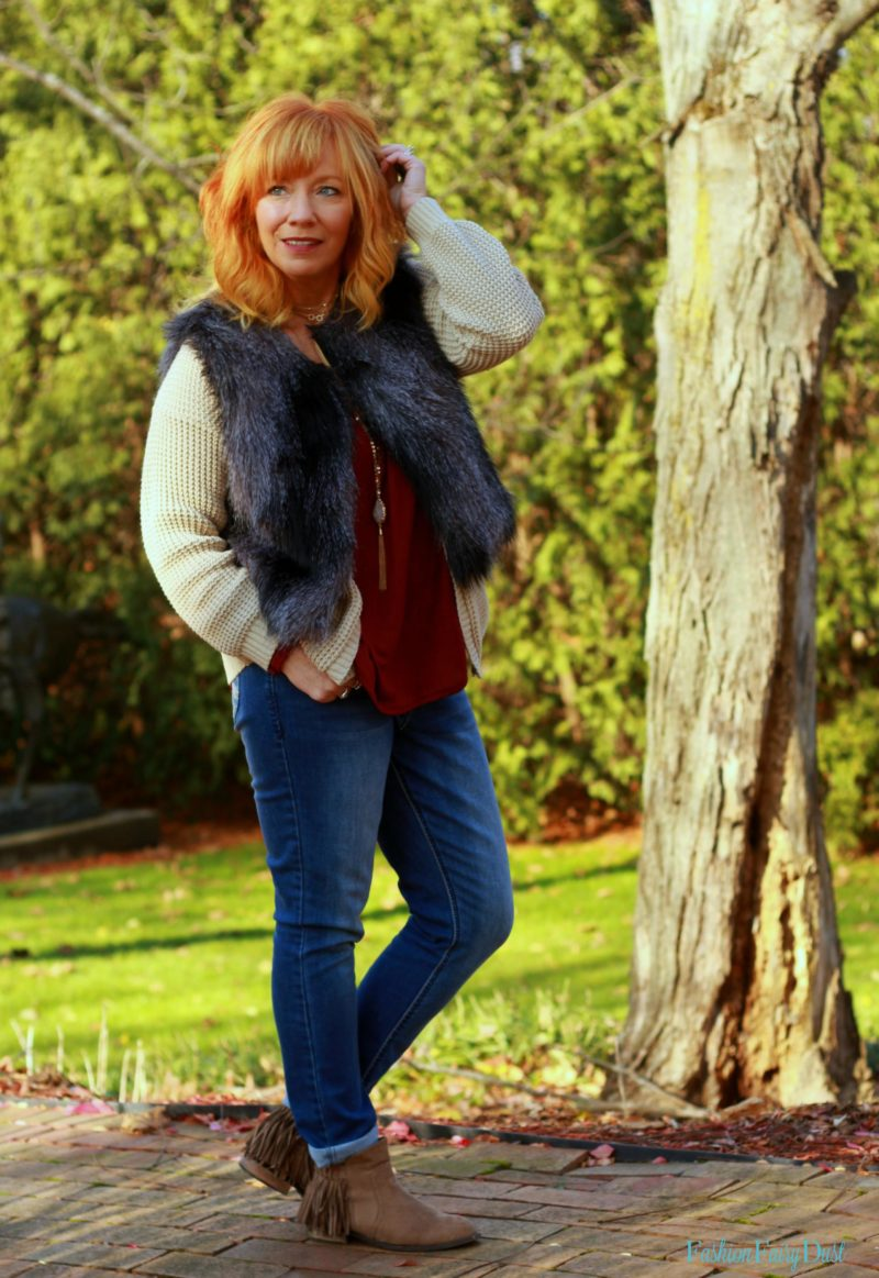 Angels jeans, fringe boots and fur vest. Fall outfit inspiration.