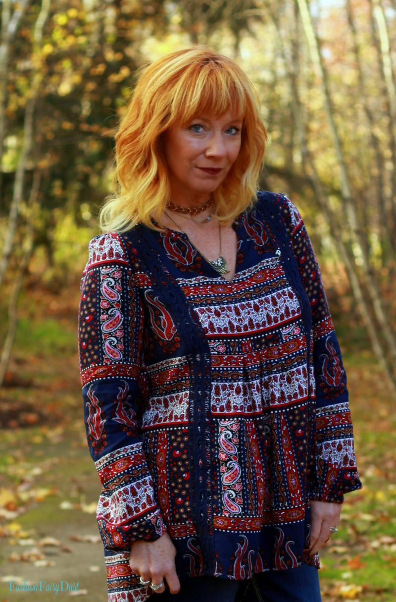 Angels Jeans, boho top, lace up over the knee boots. Fall boho outfit.