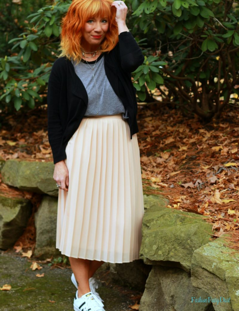 Chiffon midi skirt, Adidas Superstars & moto jacket. How to mix masculine and feminine pieces.