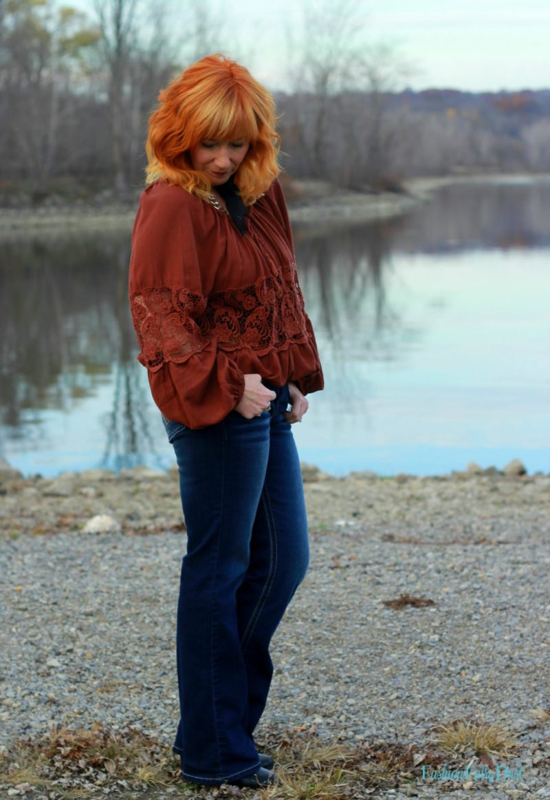 Angels bootcut jeans, peasant top and shawl collar coat. How to style bootcut jeans.