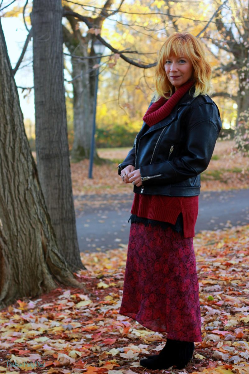 Chiffon floral skirt, cowl neck tunic sweater and moto jacket. Fall outfit inspiration.