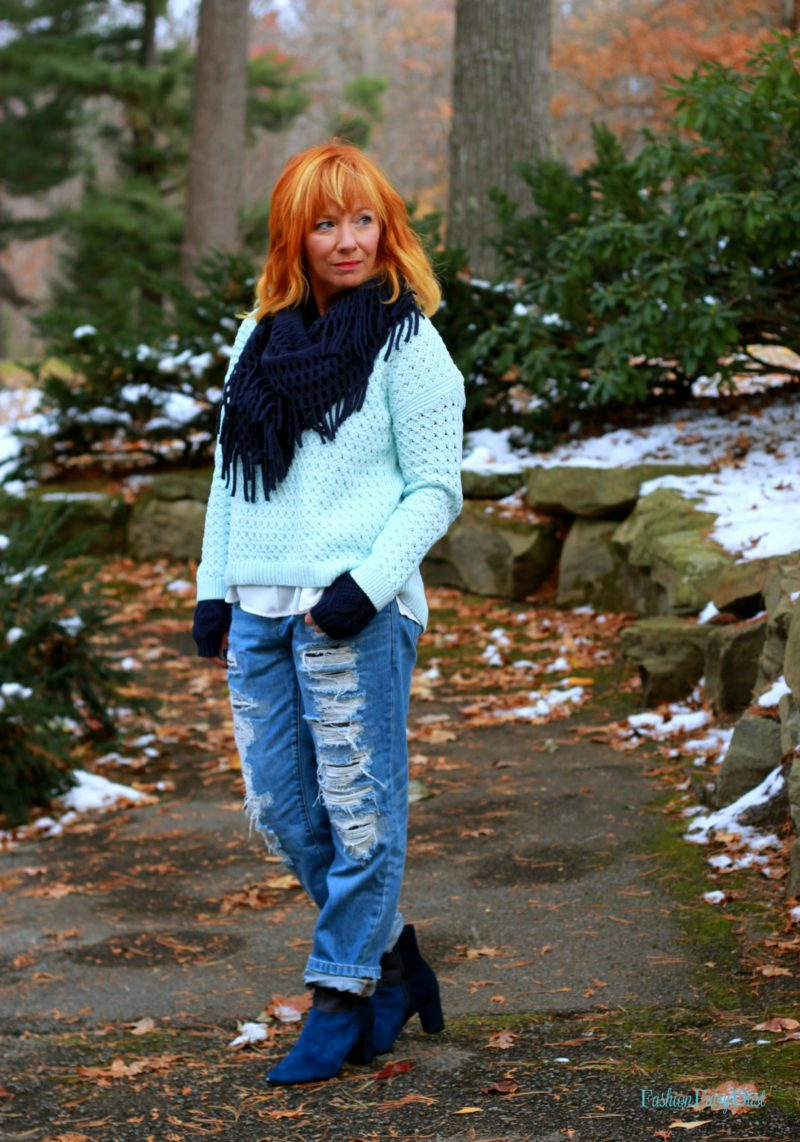 Color block ankle boots, Blank NYC jeans, blue sweater. Fall outfit ideas.