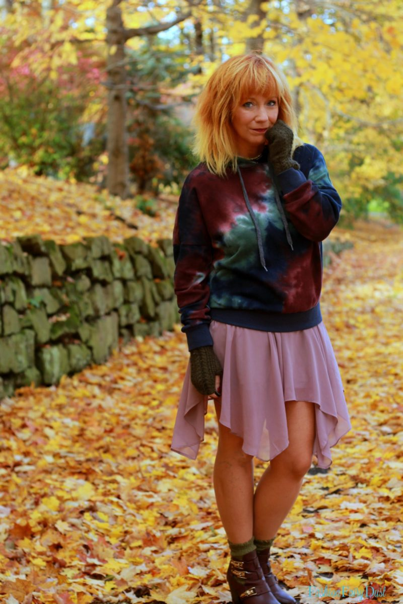 Tie dye hoodie, pink chiffon skirt and hand warmers. How to pair unexpected pieces together.